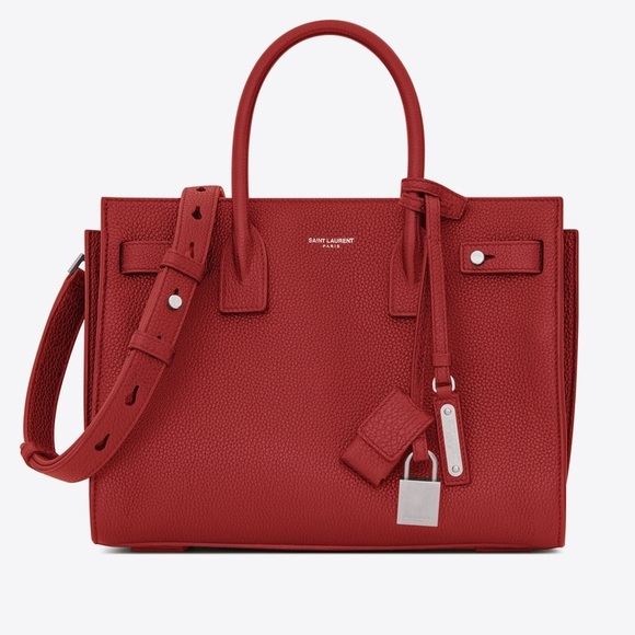2a6a8b4e YSL Baby Sac de Jour Bag in Red Grained Leather NWT